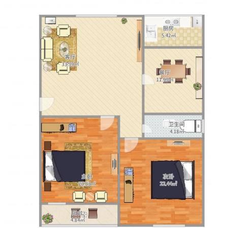 和平路山航宿舍2室2厅1卫1厨137.00㎡户型图