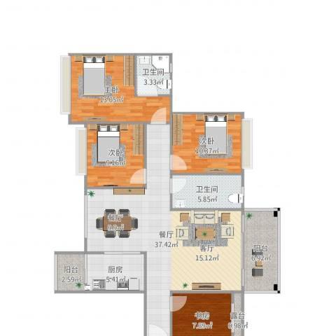 霸王花・月亮湾4室1厅2卫1厨128.00㎡户型图