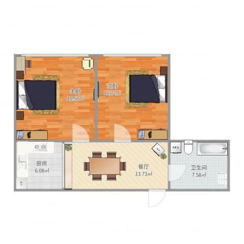 安图新村2室1厅1卫1厨84.00㎡户型图