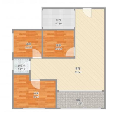 九鼎国际城3室1厅1卫1厨83.00㎡户型图