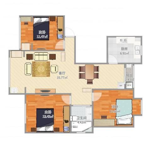 君莲小区E区3室1厅1卫1厨108.00㎡户型图