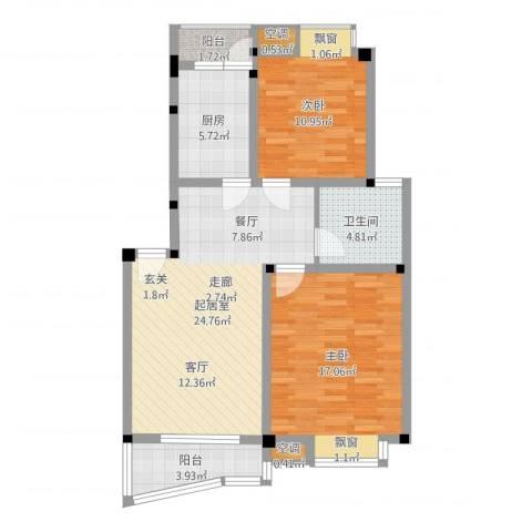 叠翠江南 江南星城2室2厅1卫1厨108.00㎡户型图