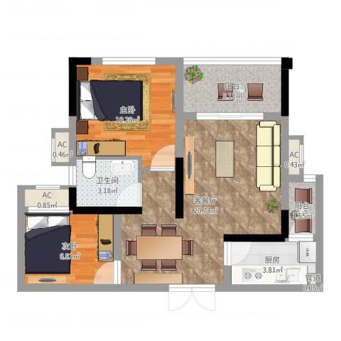 融创凡尔赛花园2室2厅1卫1厨67.00㎡户型图