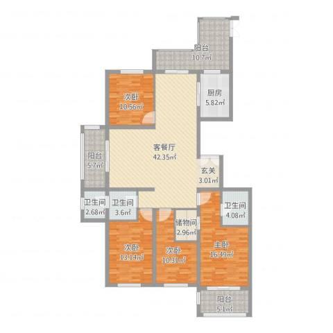 安阳义乌国际商贸城/义乌城4室2厅3卫1厨167.00㎡户型图