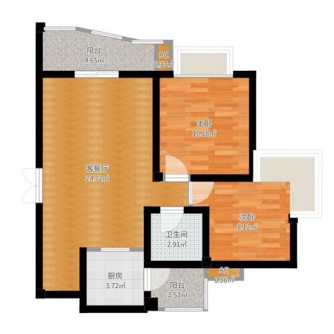 樱花丽舍2室2厅1卫1厨72.00㎡户型图