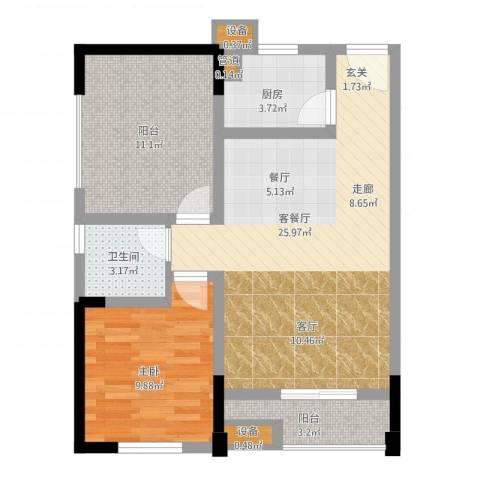 恺信时代天城1室2厅1卫1厨85.00㎡户型图