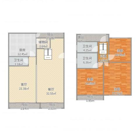 白雪公主3室2厅3卫1厨155.00㎡户型图