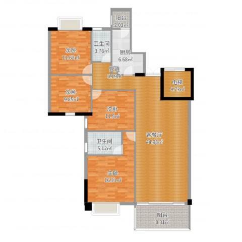 富力院士庭4室2厅2卫1厨156.00㎡户型图