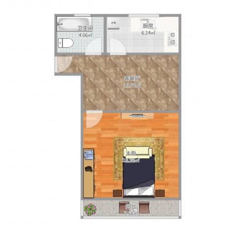 潍坊六村1室2厅1卫1厨64.00㎡户型图