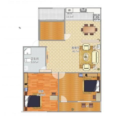 建鑫花园1室2厅1卫1厨115.10㎡户型图