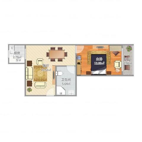 通河八村1室1厅1卫1厨56.00㎡户型图