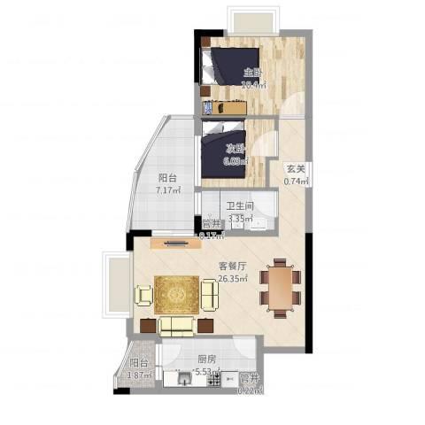 江畔华庭2室2厅1卫1厨76.00㎡户型图