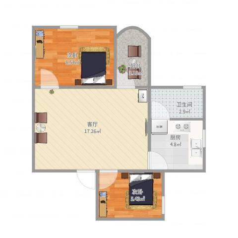 江滨大厦7座6052室1厅1卫1厨45.83㎡户型图