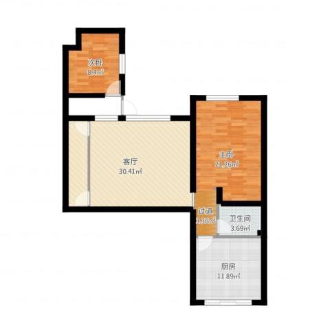 一品苑2室1厅1卫1厨95.00㎡户型图