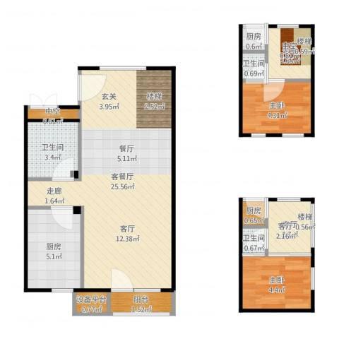 万科金阳国际公寓2室3厅3卫3厨53.63㎡户型图