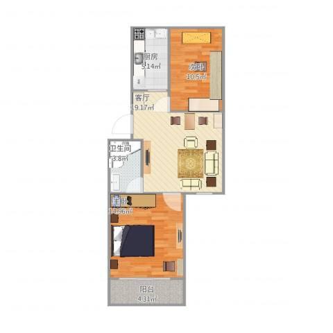 恒大华城东林苑2室1厅1卫1厨77.00㎡户型图