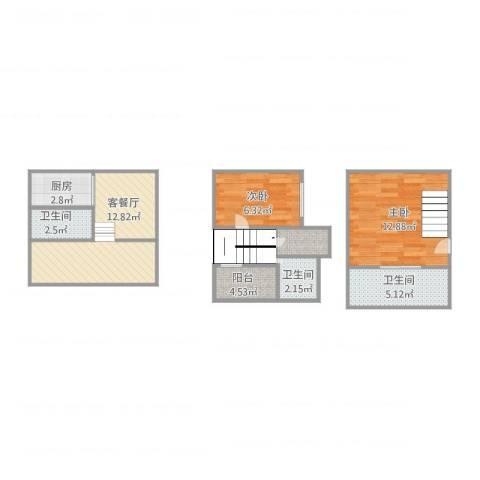泰晤士小镇公寓2室2厅3卫1厨68.00㎡户型图
