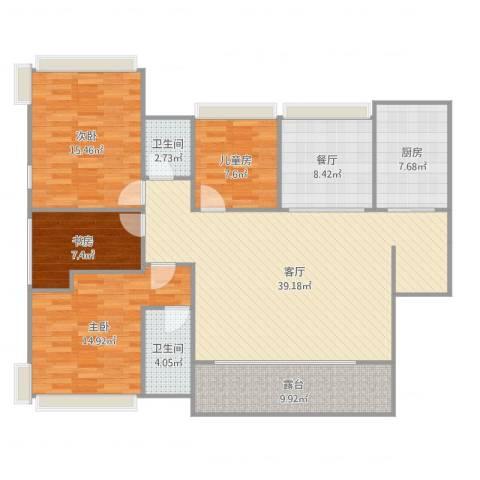 正德天水湖4室2厅2卫1厨147.00㎡户型图