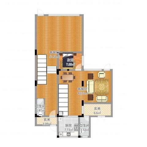 万科水晶城1F1室4厅2卫1厨162.00㎡户型图