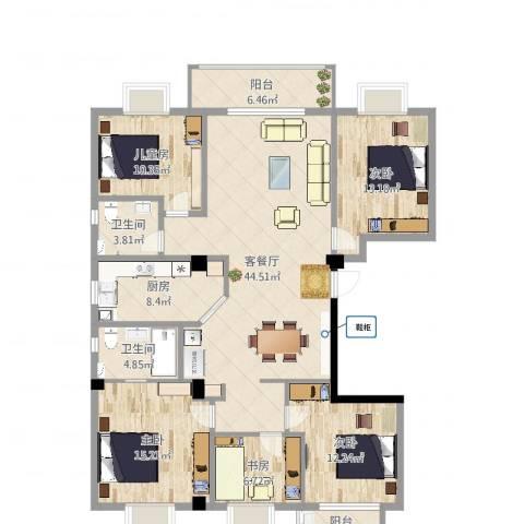 金冠花园5室2厅2卫1厨145.00㎡户型图