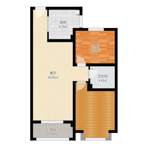 欧美世纪花园1室1厅1卫1厨90.00㎡户型图
