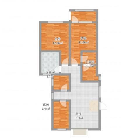 八里庄盛世华园3室1厅2卫1厨94.00㎡户型图