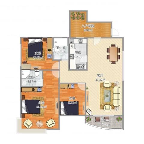君汇华庭3室1厅2卫1厨134.00㎡户型图