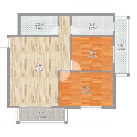 通惠家园惠民园2室1厅1卫1厨83.00㎡户型图