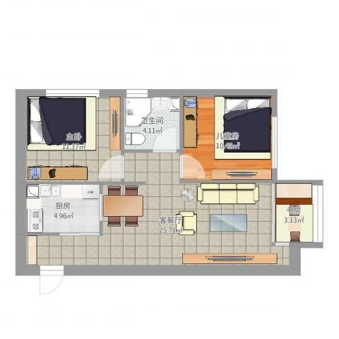 佳兆业中心K户型3室2厅1卫1厨75.00㎡户型图