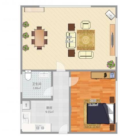 南星小区591室1厅1卫1厨74.00㎡户型图