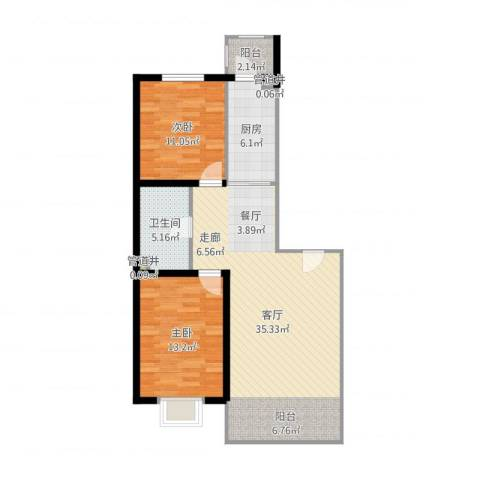 松浦观江国际2室1厅2卫2厨91.00㎡户型图