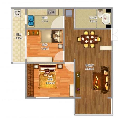 通惠家园惠民园2室2厅1卫1厨70.00㎡户型图