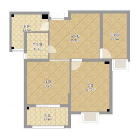 华美生态园3室2厅1卫1厨82.00㎡户型图