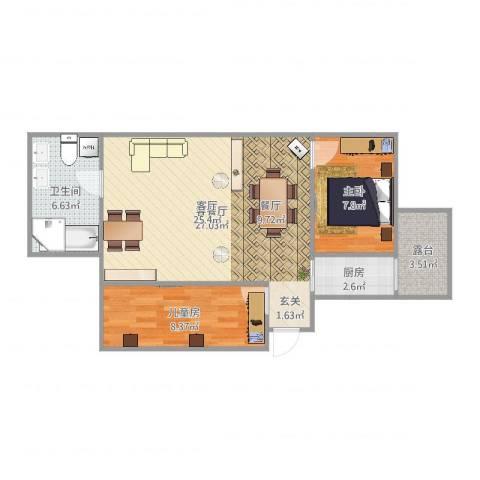 红旗新区2室2厅1卫1厨70.00㎡户型图