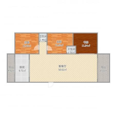 丽日豪庭3室2厅2卫1厨141.00㎡户型图