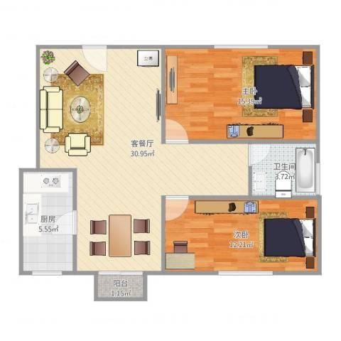 浦江丽都2室2厅1卫1厨92.00㎡户型图