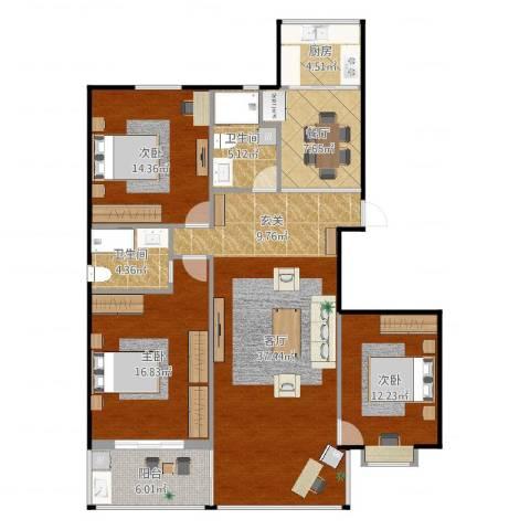 彩虹新村3室2厅2卫1厨136.00㎡户型图
