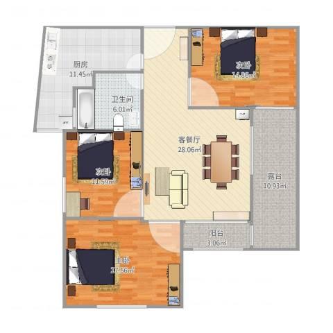 古银杏苑3室2厅1卫1厨139.00㎡户型图