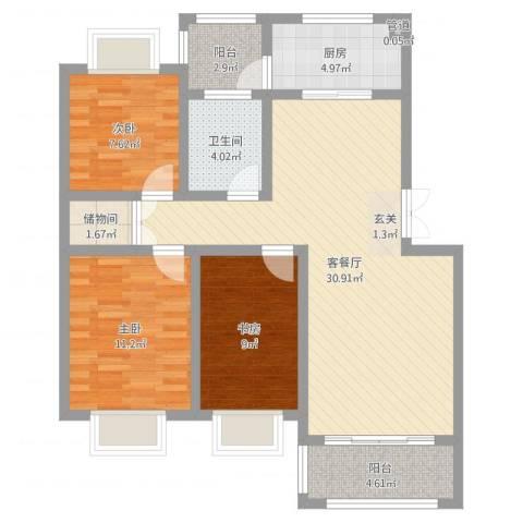 谷山庭院项目3室2厅1卫1厨96.00㎡户型图