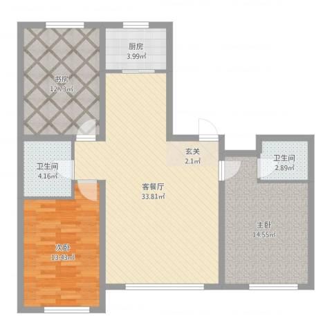 鑫城广场3室2厅2卫1厨107.00㎡户型图