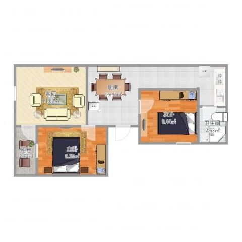 桂江楼2室1厅1卫1厨63.00㎡户型图