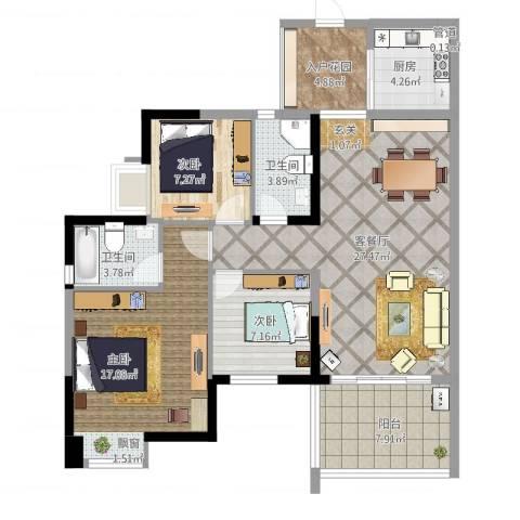卓越东部蔚蓝海岸别墅3室2厅2卫1厨105.00㎡户型图