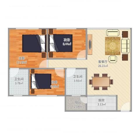 嘉信广场19座10043室2厅2卫1厨89.00㎡户型图