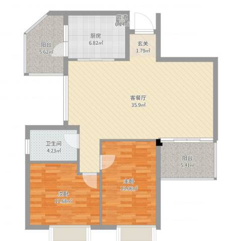 雍泉山庄2室2厅1卫1厨104.00㎡户型图