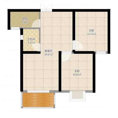 光华里2室2厅1卫1厨74.00㎡户型图