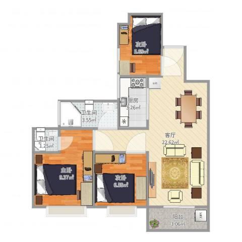 秀乐公馆3室1厅2卫1厨69.00㎡户型图