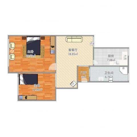 平吉二村2室2厅1卫1厨90.00㎡户型图