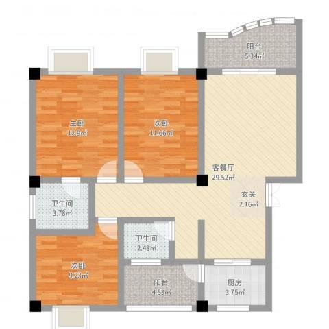 春巢尚苑3室2厅2卫1厨104.00㎡户型图