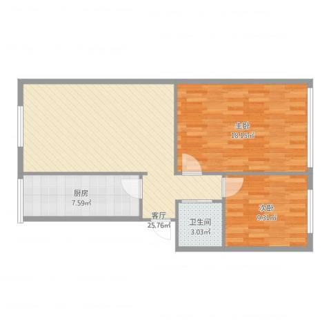 新北小区2室1厅1卫1厨80.00㎡户型图