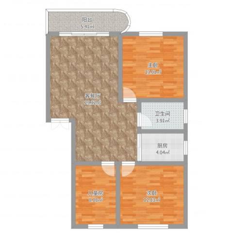 牡丹园3室2厅1卫1厨96.00㎡户型图